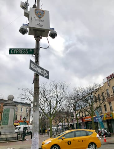 New York Police Department cameras keep everyone safe in the neighborhood.