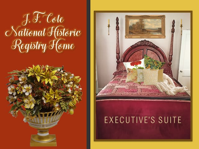 J. F. Cole National Historic Registry Home Airbnb Executive Suite / Guest Room.