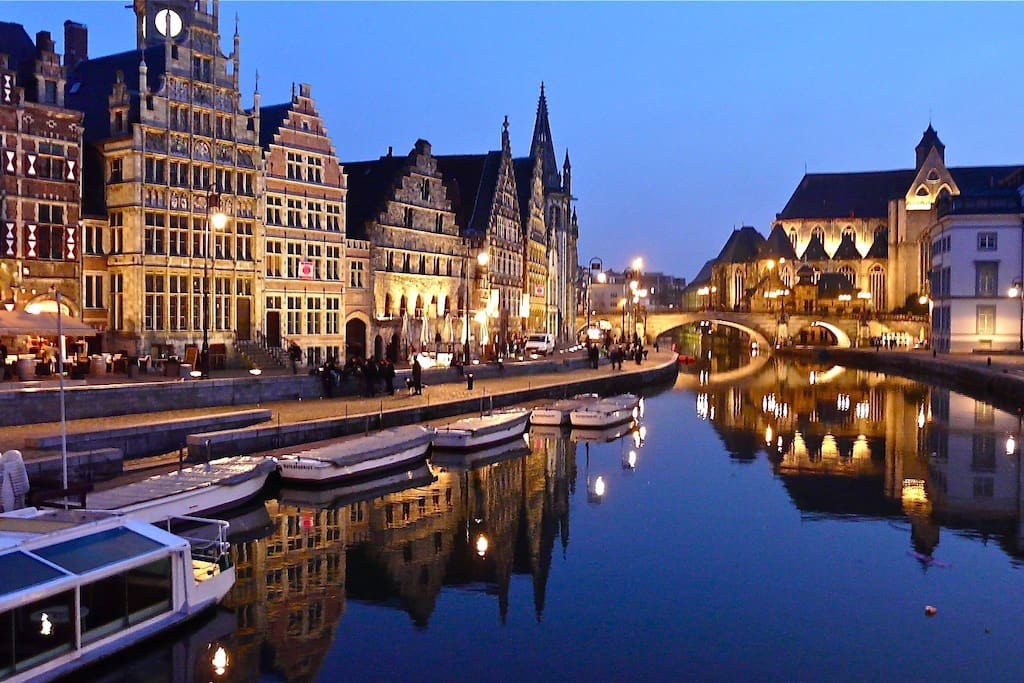 Gent by night along the riverside (you can rent a boat!)