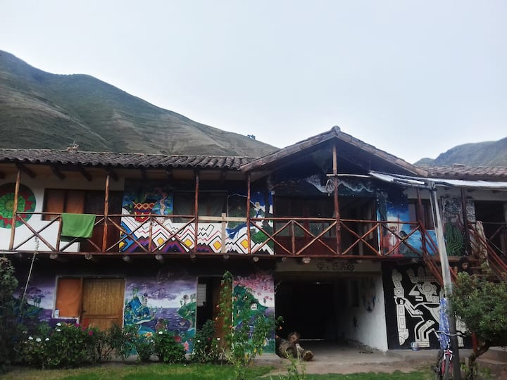 Mountain View in peaceful town in Sacred Valley