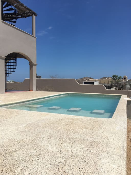 Brand new pool w/shallow end for kids or lounging