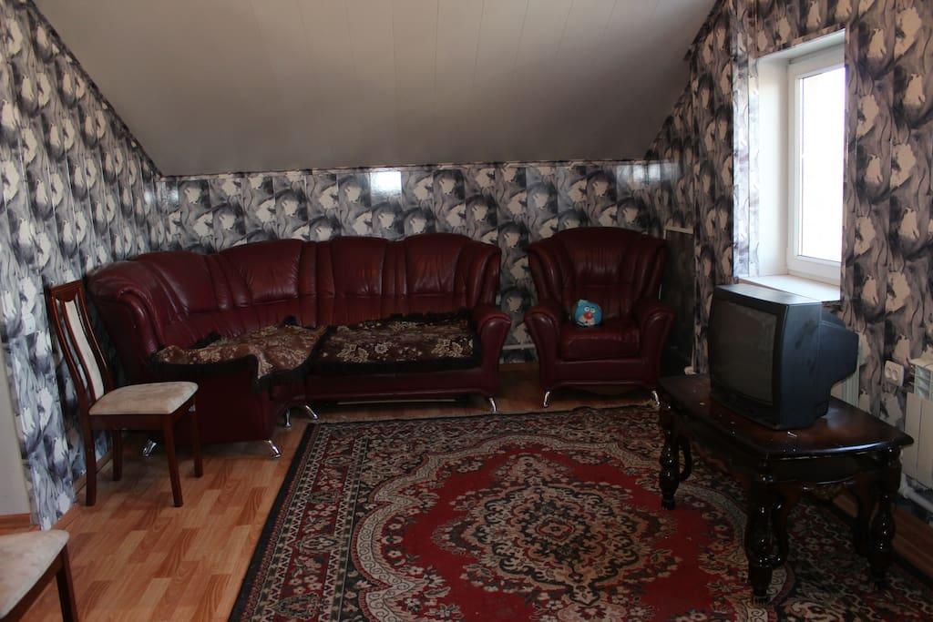 Гостиная с раскладным диваном  на 2-3 человека и кроватью 1 человека