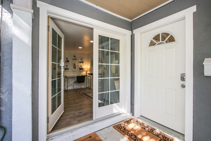 French door private entry with combination lock.