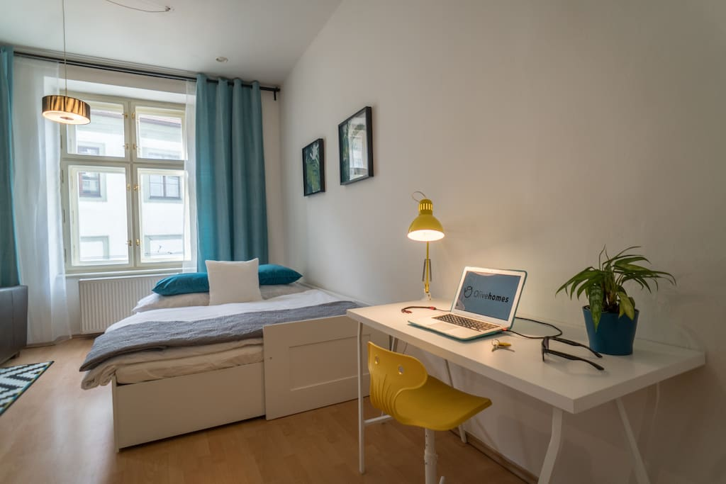 Part of your master bedroom with convertible queen bed (160x200) and convenient working area