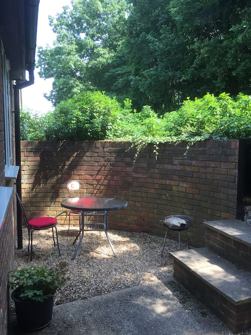 Private courtyard garden with barbecue