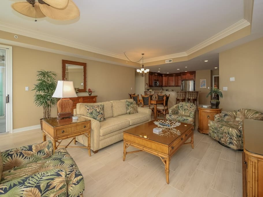 Open Living Room with Plenty of Seating at 3303 Sea Crest