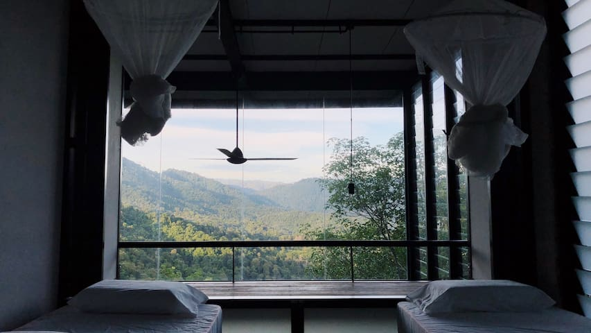 Bedroom with a picturesque view of an emerald green forested mountain.