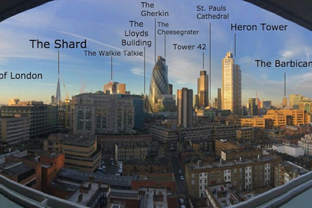 the view from our flat with famous buildings labelled.