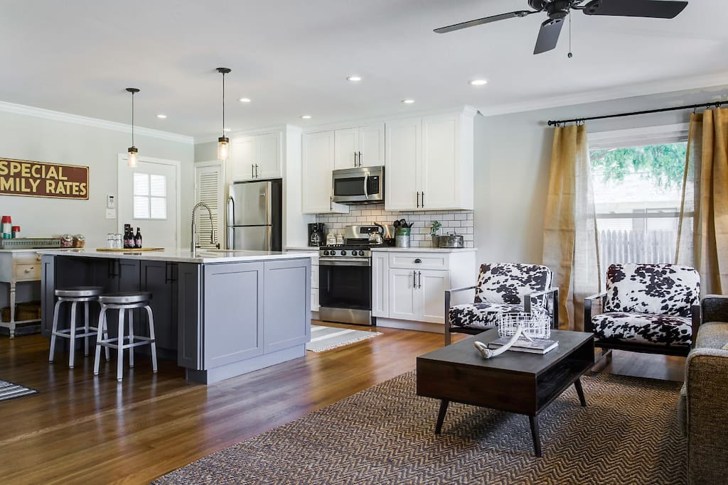 The home was renovated with an open concept floor plan so everyone can enjoy each other's company in a relaxed, comfortable setting.