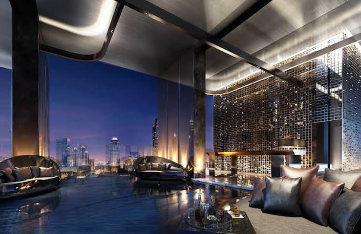 BTSASOK/Terminal21/Siam/牛仔街奢华公寓无敌夜景/免费健身房天际泳池/网红公寓