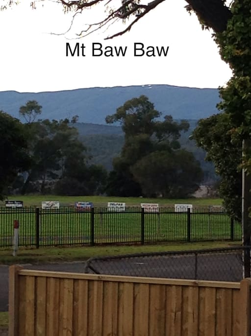View of Mt Baw Baw from the deck