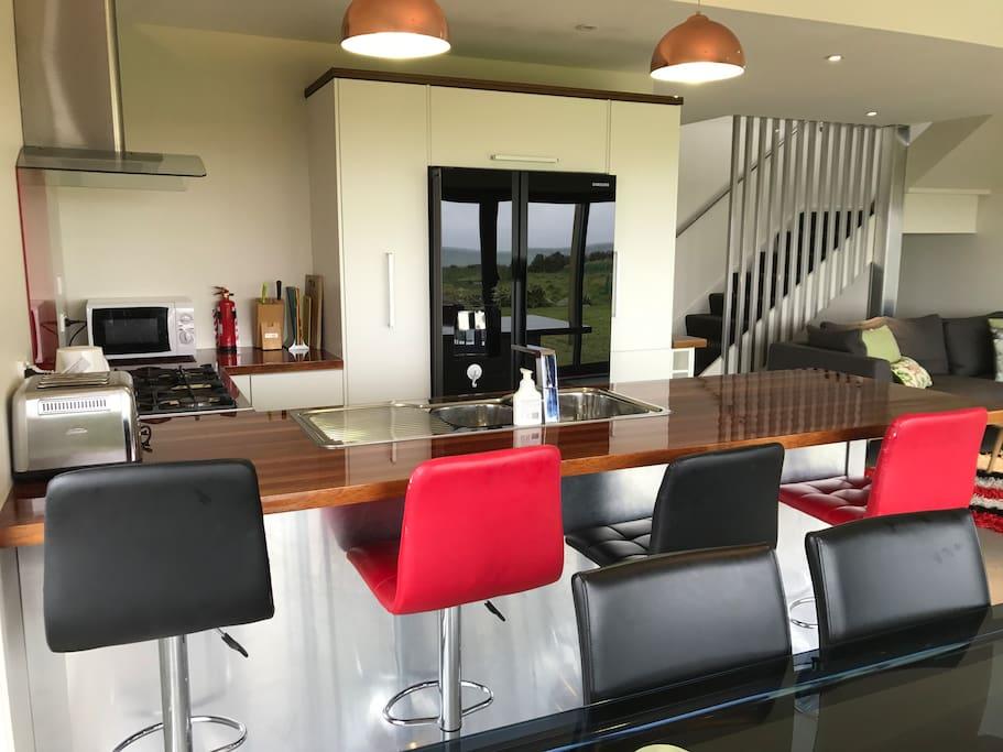 Fridge freezer and kitchen breakfast bar