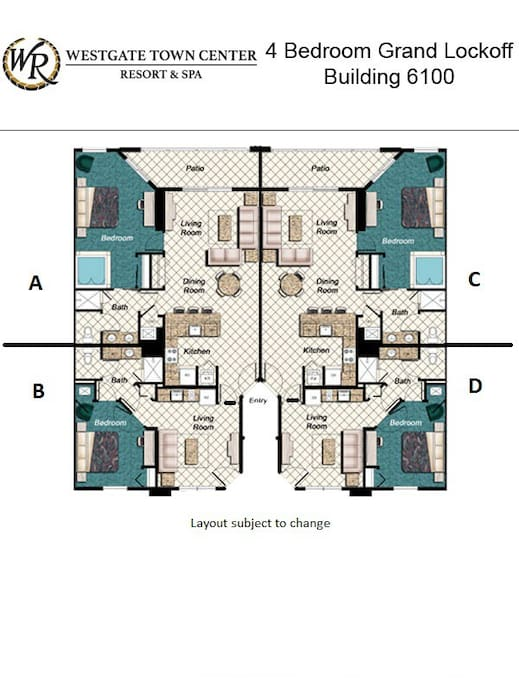 Floor plan of 4 bedroom unit. The 2 bedrooms being offered are of units A and C.  There is a connecting door between the two units and each has their own outside entrance.