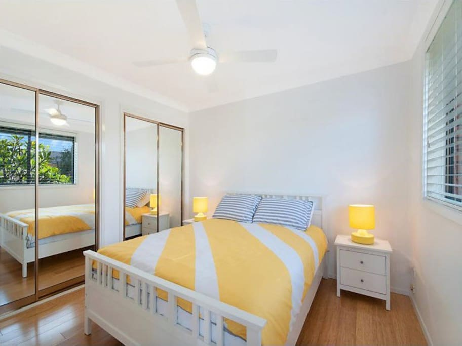 Main double bedroom upstairs, located near upstairs balcony.