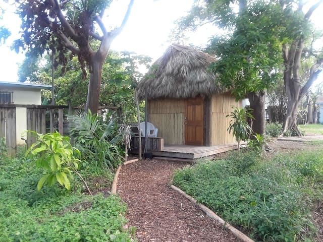 Tiki Hut with Porch on Urban Farm