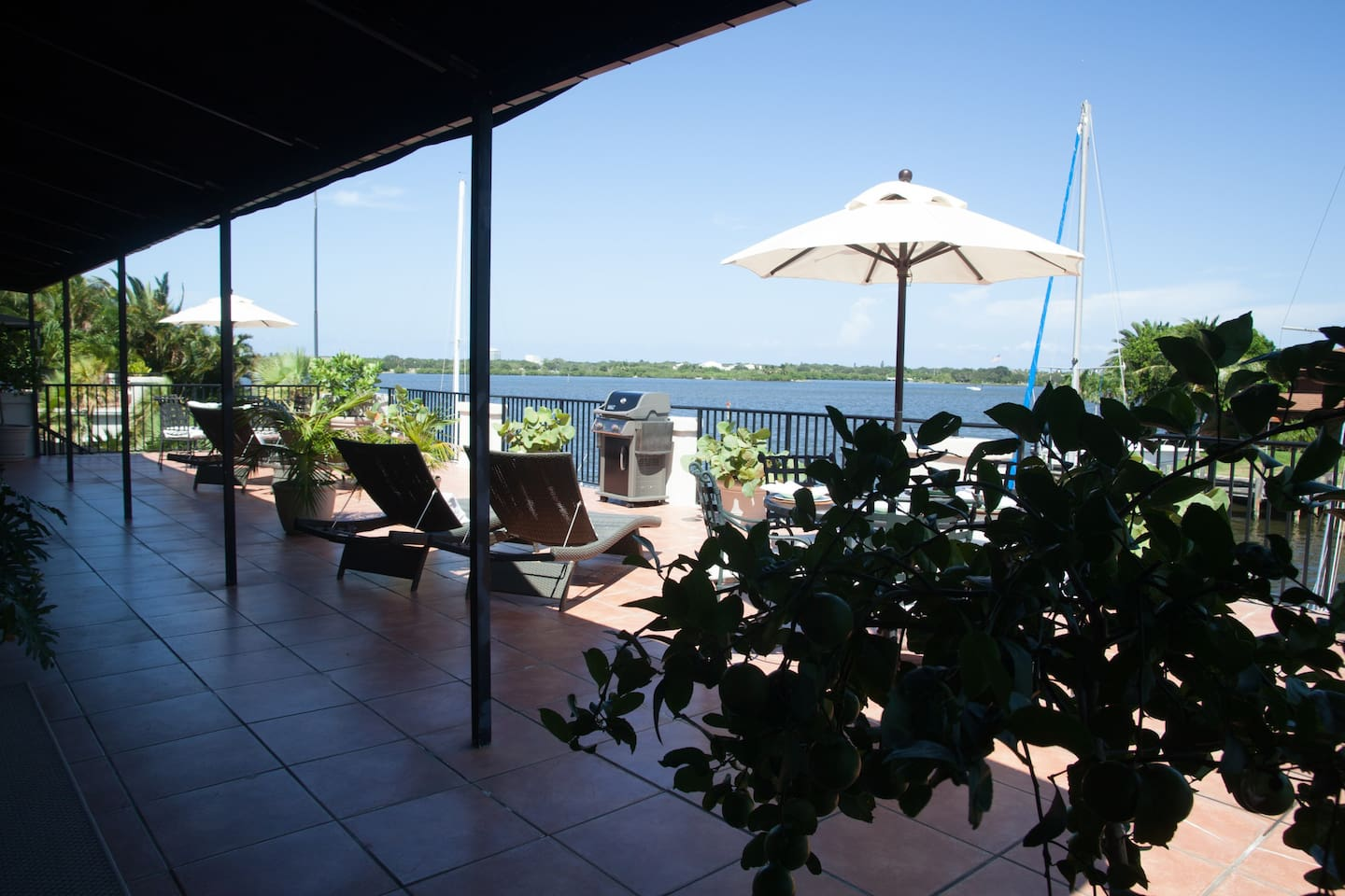 Panoramic view from the deck of the Intracoastal waterway~Just 2 miles over the bridge to the beach!