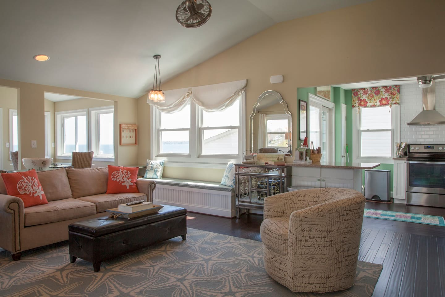 Sunny windows show scenic from Living room