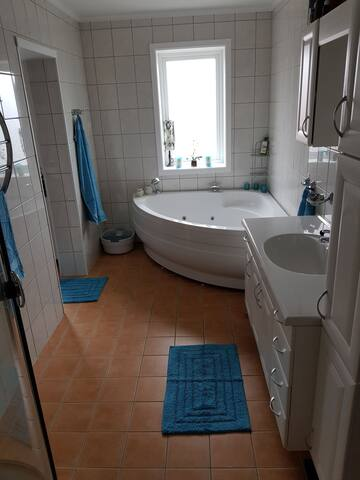 This is a beautiful apartment with a big bathroom.