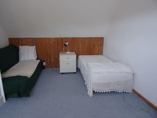 Chambre de 25m2, claire, murs blancs, bois avec coin table de travail. Frigo, micro-ondes,