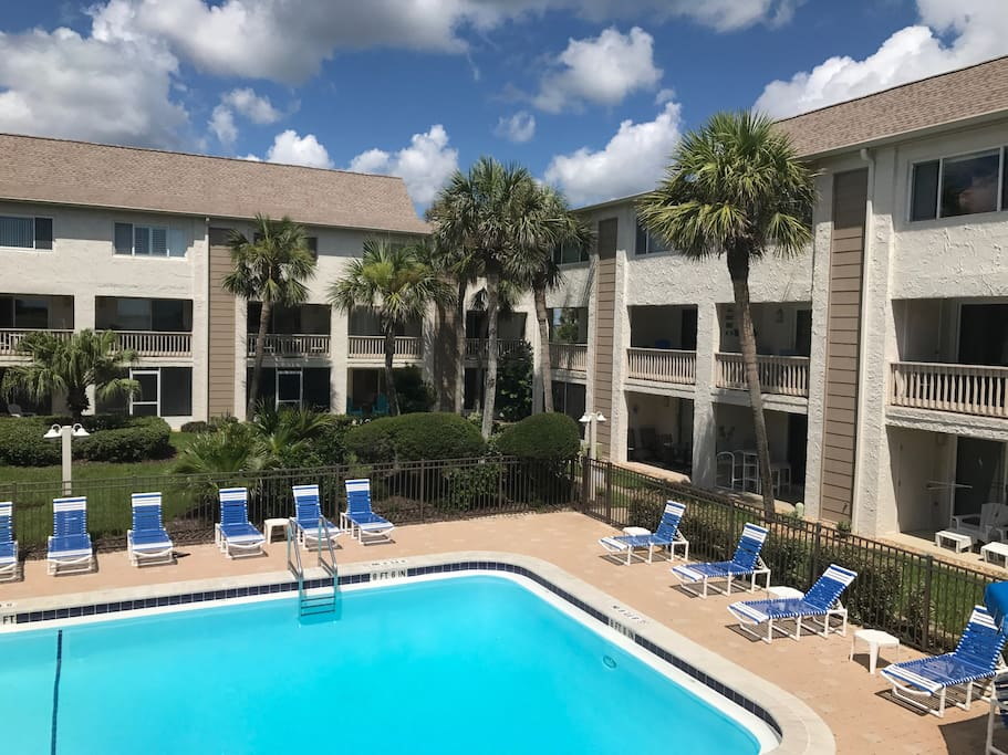 Our unit is the far right 2nd and third floors. This beautiful pool is easily viewable from balcony