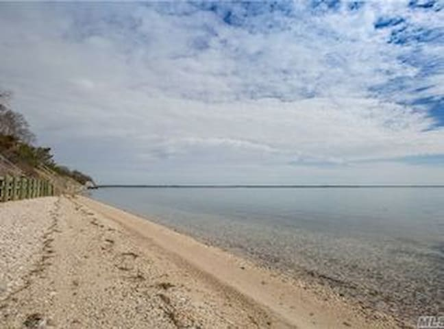 Private Beach Facing North Fork on Little Peconic Bay.  One of the only properties on Nassau Point with a Beach.