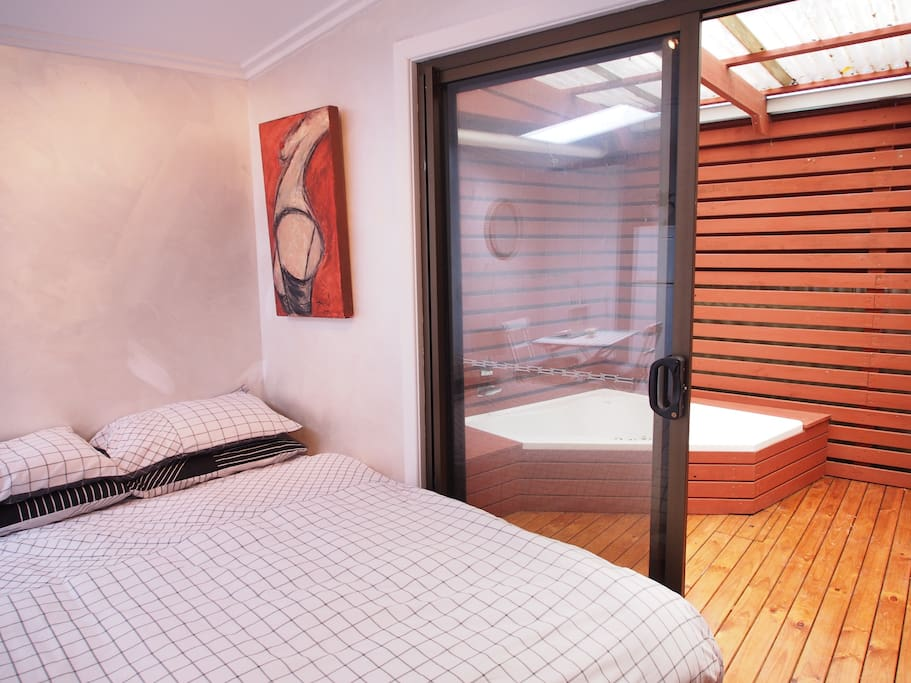 studio with semi- outdoor spa area