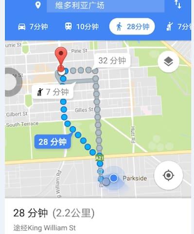 北偏西2.2Km可到达市中心维多利亚广场 2.2 km north west to the downtown Victoria Square
