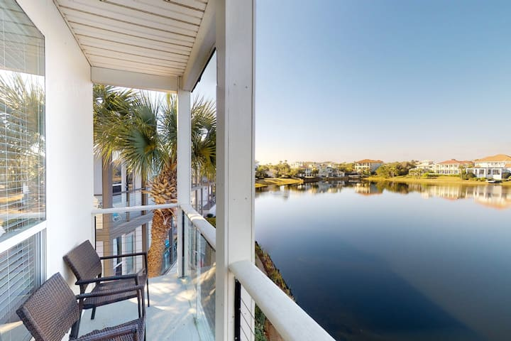 Lakefront condo with shared pool and easy beach access across the street!