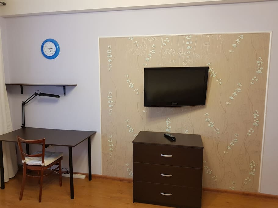 TV and table in living room