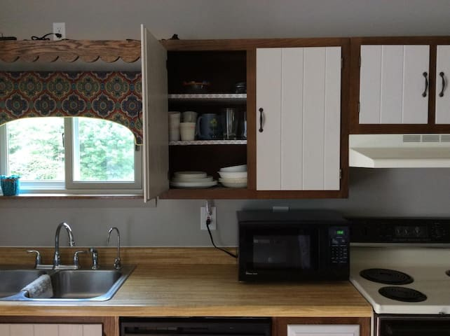 The cupboards are stocked with dinnerware, glassware, and cutlery so that you can eat-in if you desire to do so. For those who wish to cook, pots, pans, and spices have been included.