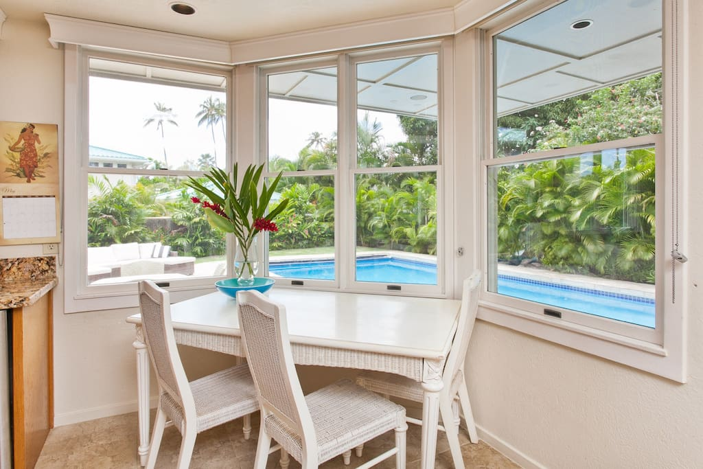 Kitchen overlooking the pool