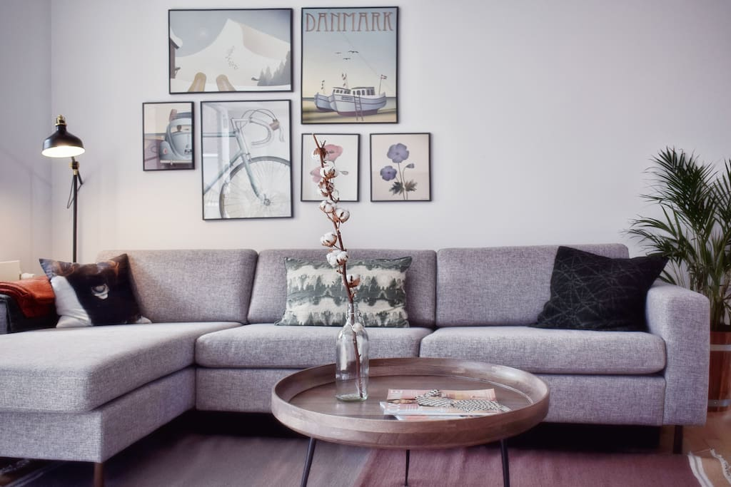 Our lovely living room brightened by Danish design posters
