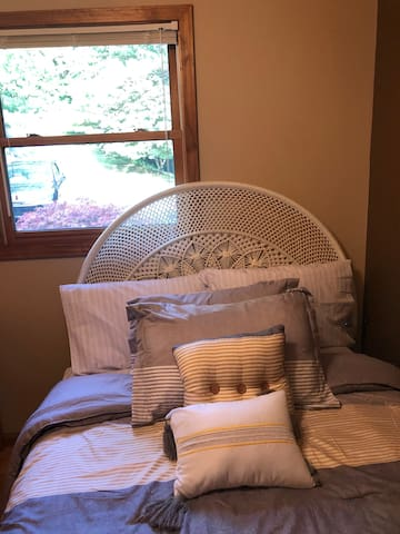 THIRD BED ROOM WITH FULL BED GARDEN VIEW
