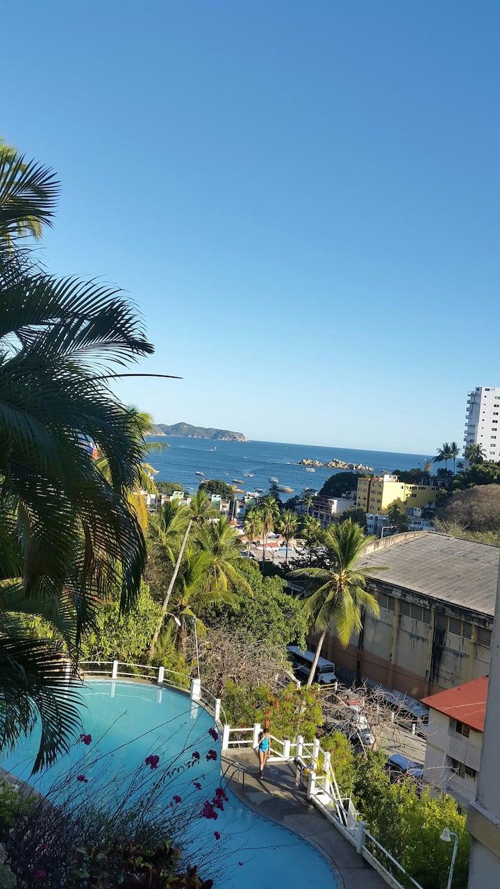 Confortable Depto. A1/2 cuadra del MAR en Acapulco