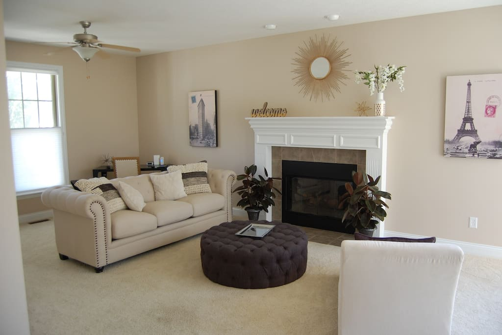 Cozy living space with a fireplace!