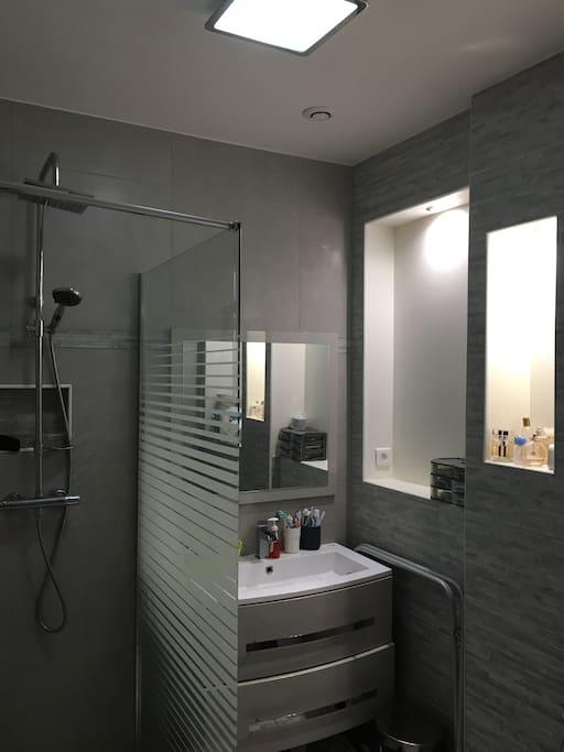Salle de bain avec douche à l italienne et nombreux rangement s