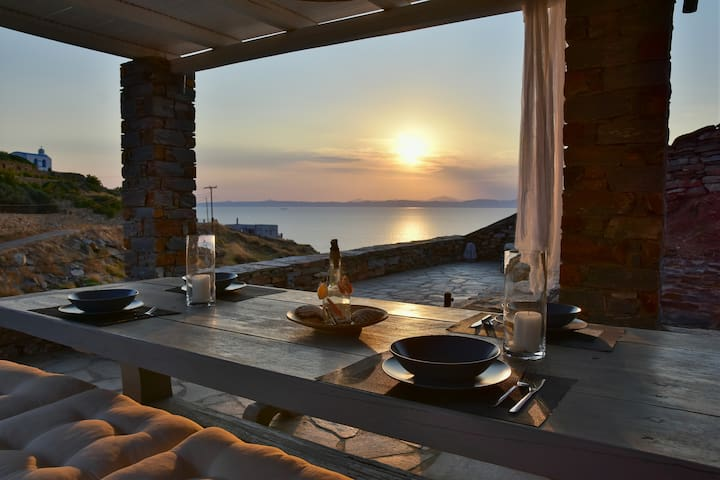 Cycladic stone house with stunning sea view