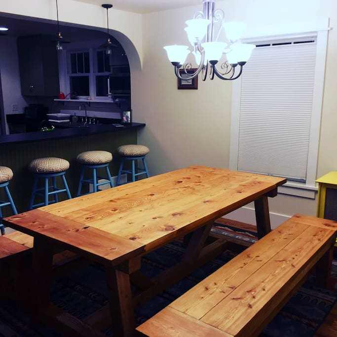 We have upgraded the dining table! Made with love about 50 feet away in our garage.
