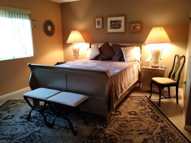 """Lg BR w/Queen Bed, 50"""" TV, Priv. Office and Bath"""