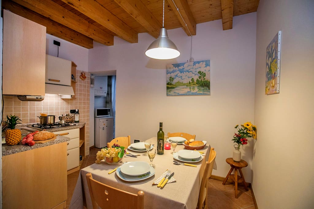 The kitchen with dinner table
