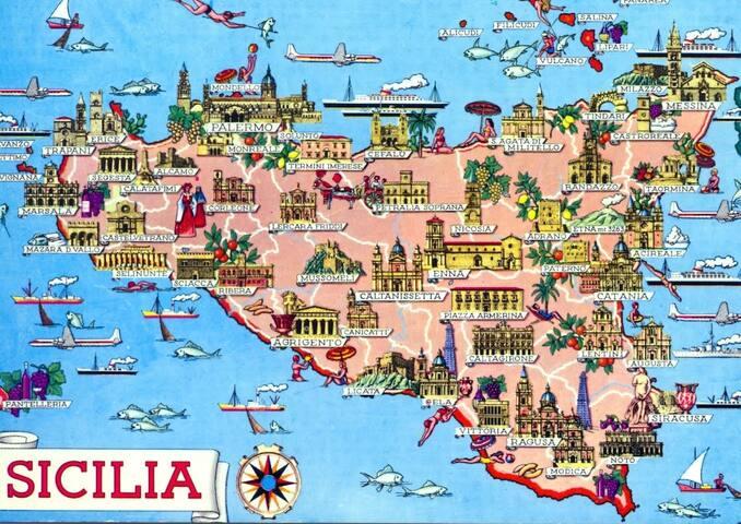 Importante posizione strategica per chi vuole visitare la parte meridionale, occidentale e orientale della Sicilia