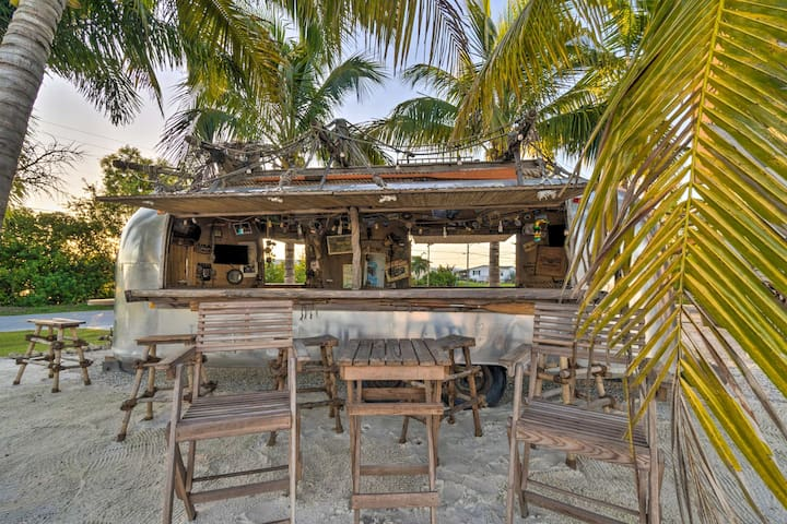 Make yourself a tropical drink at the tiki bar.