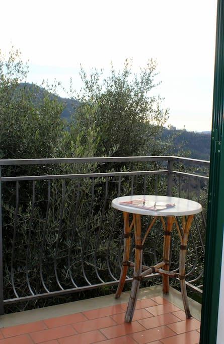 Balcone, con vista mare e ulivi