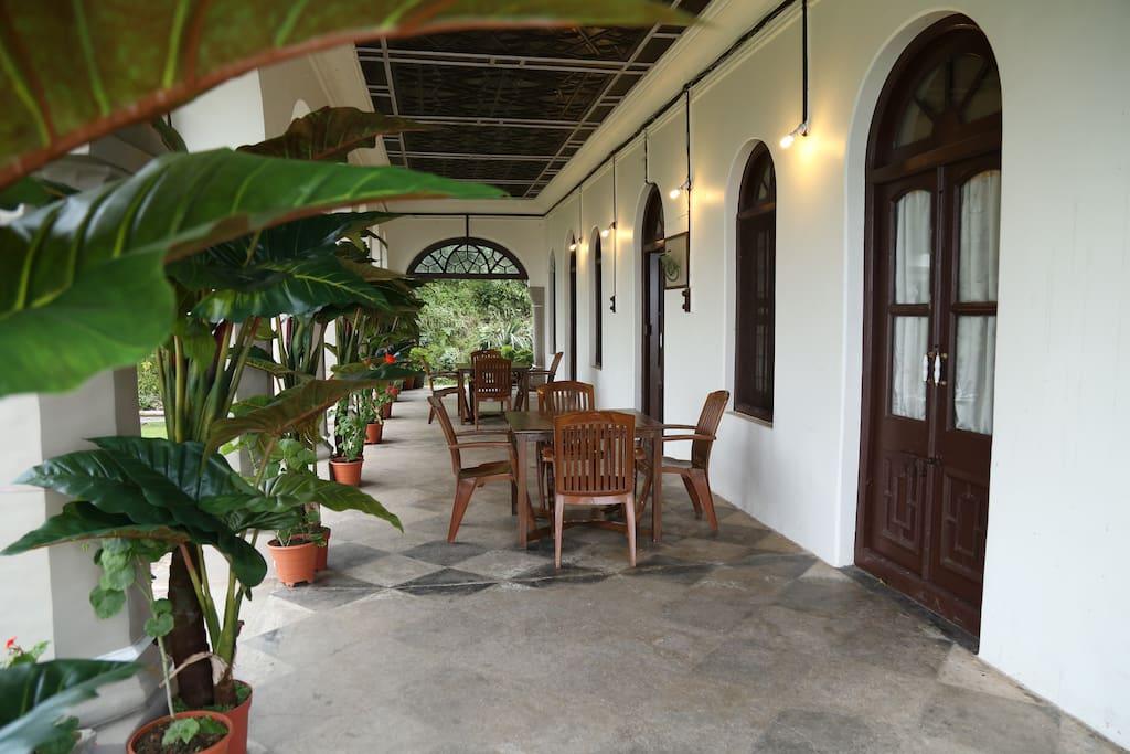 Open verandah on the ground floor with original wooden ceiling