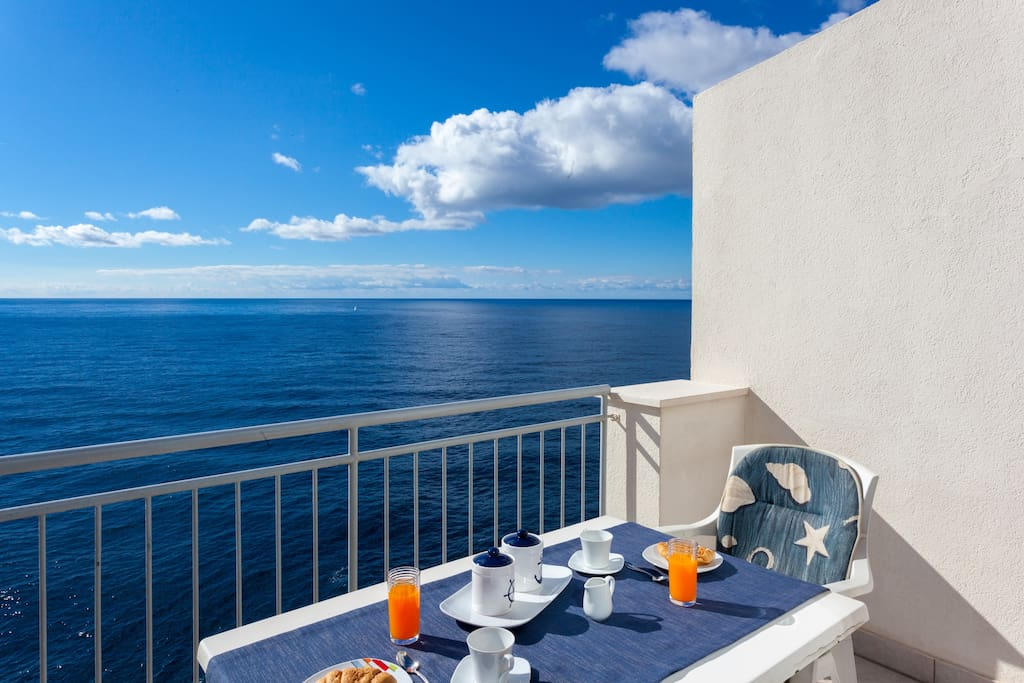 The secluded balcony with a stunning view of the Adriatic.
