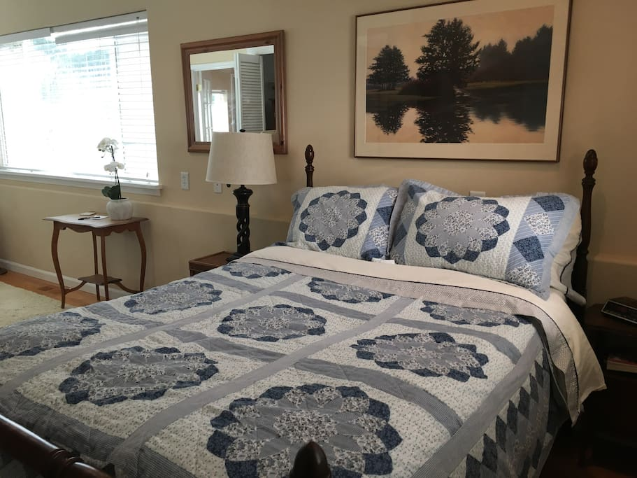 Comfy full-size bed with memory foam topper.