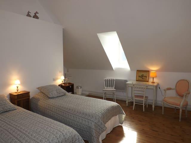 La chambre Oxygène avec ses 2 lits jumeaux pouvant être rapprochés. Cette chambre à également un plafond en cathédrale de plus de 3m de haut.