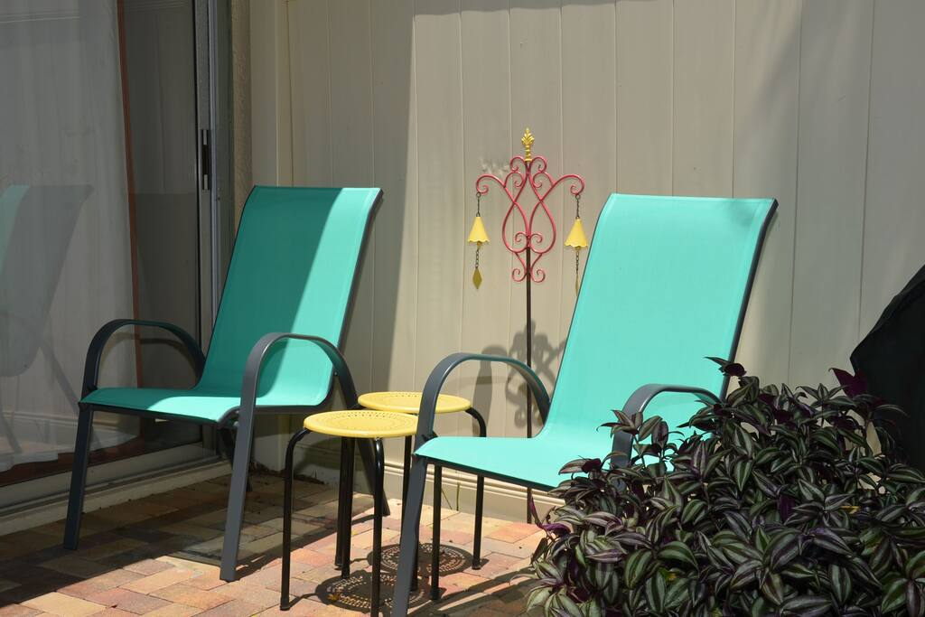 This corner unit has a semi private patio, close to the pool and there is a propane grill for our guests.