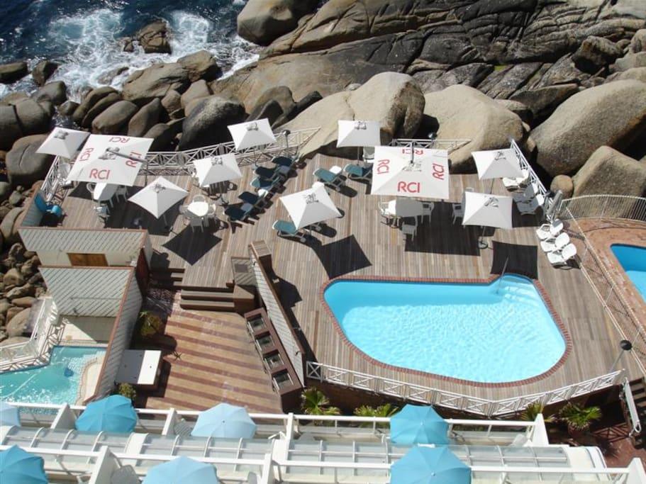 Pool deck below