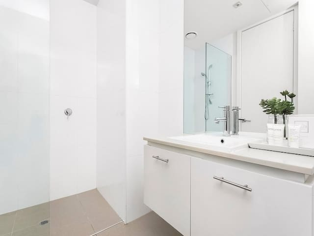Walk in shower. Private bathroom for exclusive use by guests
